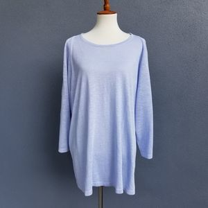 J Jill Sweater Linen Bl. 4X Cold Shoulder Blue
